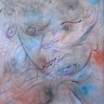 Nr.1 Abstraktion Gesicht Mädchen, 50x40 cm, Kugelschreiber und Öl, 2014
