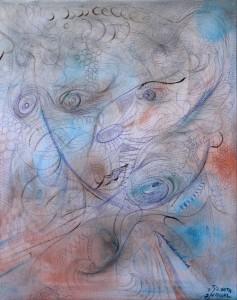 Nr.1-Abstraktion-Gesicht-Mädchen-50x40-cm-Kugelschreiber-und-Öl-2014