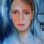 Nr.19 Angelface - Portrait auf Blau, 50x40 cm, Öl auf Leinwand, 2014