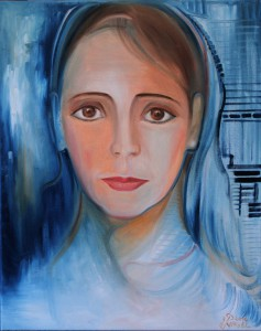 Nr.19-Angelface-Portrait-auf-Blau-50x40-cm-Öl-auf-Leinwand-2014