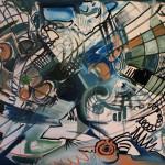 Nr.20 Netzkultur - Abstrakt, 120x160 cm, Öl auf Leinwand, 2014