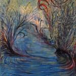 Nr.5  Garten - Am Teich, 80x60 cm, Acryl u. Öl auf Leinwand, 2014