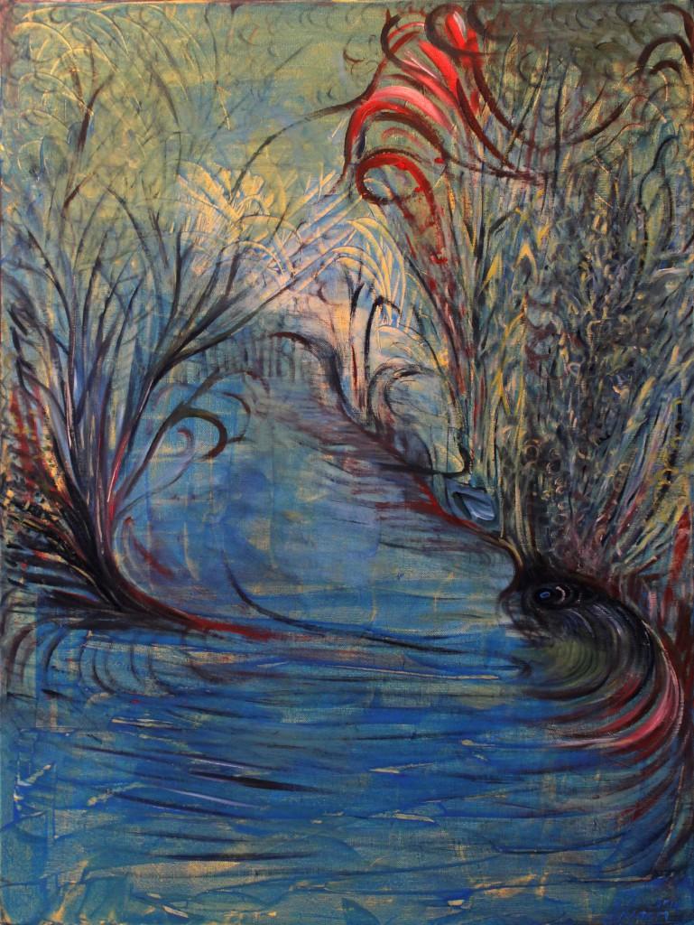 Nr.5-Garten-Am-Teich-80x60-cm-Acryl-u.-Öl-auf-Leinwand-2014