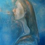 Nr.8 Mädchenportrait in Blau - Das Netz, 80x60 cm, Öl auf Leinwand, 2014