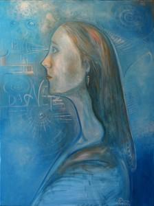 Nr.8-Mädchenportrait-in-Blau-Das-Netz-80x60-cm-Öl-auf-Leinwand-2014