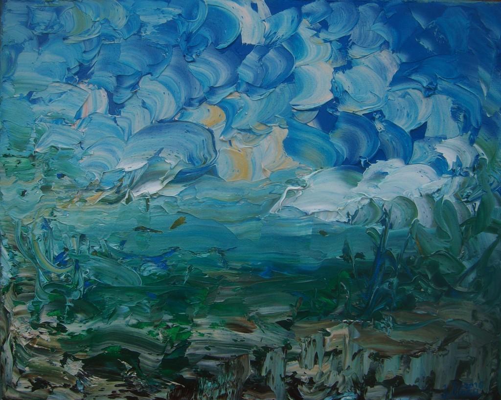 Nr.28 Fantastische Landschaft - Himmel, 40x50 cm, Öl auf Leinwand 2016