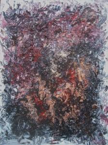 Nr.10-Rot-und-Schwarz-auf-Weiß-80x60-cm-Öl-und-Holzspäne-auf-Leinwand-2015
